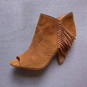 Suede Fringed Open Toe Booties Sigerson Morrison 9
